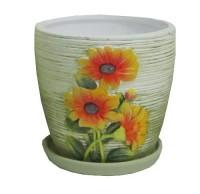 Горшок цветочный РУБИ керамический с блюдцем ф11,5мм J121-03 - Интернет-магазин «Строительный двор Морозов»