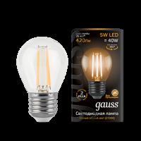 GAUSS Лампа светодиод. шар 5W. E27. 2700K  - Интернет-магазин «Строительный двор Морозов»