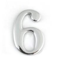 АПЕКС Номер квартирный самокл. хром метал. Apecs CP №6 DN-01-6-Z-CP - Интернет-магазин «Строительный двор Морозов»