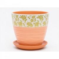 Горшок цветочный КРАБИ керамический с блюдцем 22х16 Т112-14 - Интернет-магазин «Строительный двор Морозов»