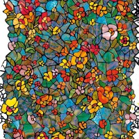 Пленка (0,45х15,0) 200-3231 Витраж цветной сад 1метр Германия - Интернет-магазин «Строительный двор Морозов»