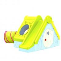 Детский домик с горкой 240х174х104 FUNTIVITY Желтая крыша 220147  - Интернет-магазин «Строительный двор Морозов»