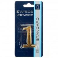 АПЕКС Номер квартирный самокл. золото метал. Apecs GP №1 DN-01-1-Z-G - Интернет-магазин «Строительный двор Морозов»