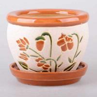 Горшок цветочный МАЛАЙЗИЯ керамический с блюдцем 30х22 Т32-23 - Интернет-магазин «Строительный двор Морозов»