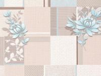 Обои винил на бумажной основе 0,53х10м В58.4 М333-01 Мотив цветок бежево-голубой Славянские - Интернет-магазин «Строительный двор Морозов»