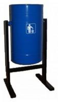 Урна для мусора металлическая уличная 26 литров круглая ножки-профиль Синяя БК558 - Интернет-магазин «Строительный двор Морозов»