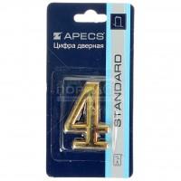 АПЕКС Номер квартирный самокл. золото метал. Apecs GP №4 DN-01-4-Z-G - Интернет-магазин «Строительный двор Морозов»