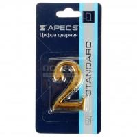 АПЕКС Номер квартирный самокл. золото метал. Apecs GP №2 DN-01-2-Z-G - Интернет-магазин «Строительный двор Морозов»