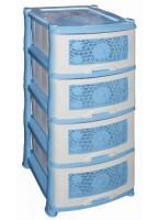 Комод пластик 4-х секционный РОМАШКА без декора темн-голубой/белый 00001810 440027 - Интернет-магазин «Строительный двор Морозов»