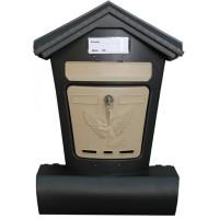 Ящик почтовый пластик Элит черный с бежевым г.Ковров П4854 366880 - Интернет-магазин «Строительный двор Морозов»