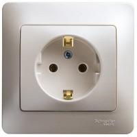 GLOSSA Розетка с заземлением 16А, 250 V, IP20  в сборе перламутр GSL000642 436081   - Интернет-магазин «Строительный двор Морозов»
